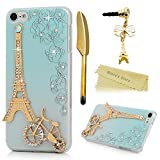 Touch 6 Case,iPod Touch 6th Generation Case - Mavis's Diary? Shiny Sparkle Diamonds Bling Crystal 3D Handmade Eiffel Tower and Bicycle Design Hard PC Cover & Dust Plug & Stylus