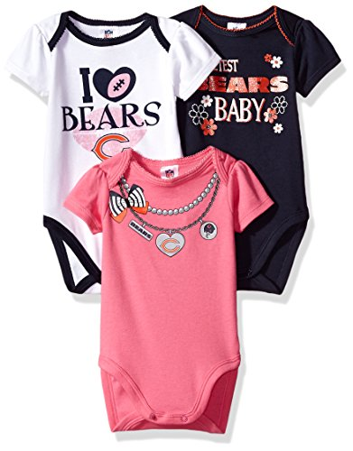 Bears Infant Sleeper - NFL Chicago Bears Girls Short Sleeve Bodysuit (3 Pack), 0-3 Months, Pink