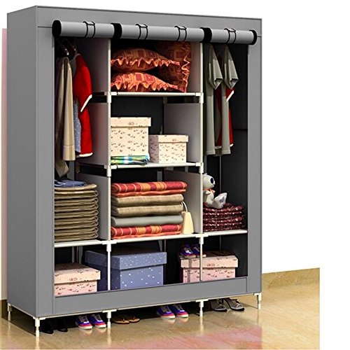 Generic New Portable Folding Clothes Closet Wardrobe Armoires Storage Rack Garment Hot by Generic