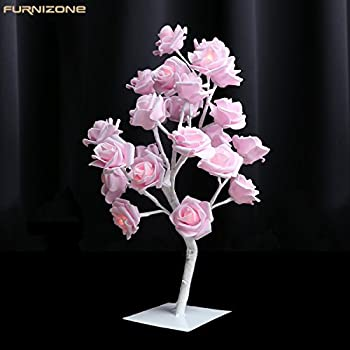 Furnizone Rose Table Lamp Flower Desk Lamp Pink Girls Lamp Bedside Lamp  Tree Light With AC Adapter For Party Wedding Bedroom Living Room Home  Indoor ...