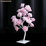 FURNIZONE Rose Table Lamp Flower Desk Lamp Pink Girls Lamp Bedside Lamp Tree Light with AC Adapter for Party Wedding Bedroom Living Room Home Indoor Decoration 24 Warm White LED Lights