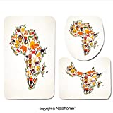 3 Piece Bath Rug Set Nalahome design-304714697 Africa travel map decorative symbo Bathroom Rug(17.7''x29.5 '')/large Contour Mat(15.7''x17.7'')/Lid Cover(15''x15.7'')For Bathroom(red )