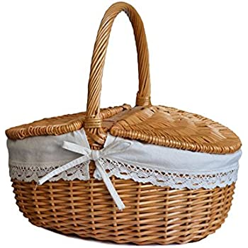 amazon com rurality wicker picnic basket hamper with lid and