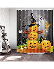 Shower Curtain Halloween Decor, 71 Inch x 71 Inch Halloween Shower Curtain Set Liner Window Curtains with 12pcs Shower Curtain Hooks for Halloween Decorations Theme Decor Props Bathroom