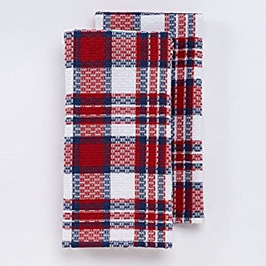Celebrate Americana Together Woven Plaid Red, White and Blue 2-Pc Kitchen Towel Set 100% Cotton Dish Towels