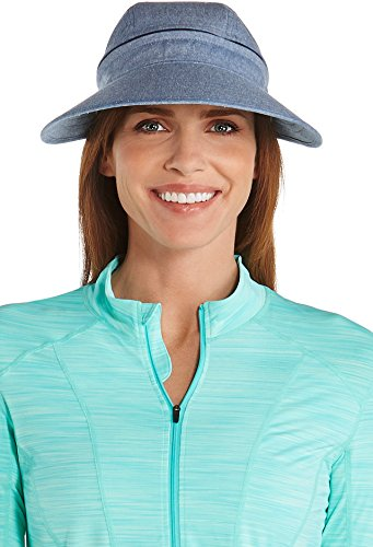 Coolibar UPF 50+ Women's Zip-Off Sun Visor - Sun Protective (One Size - Chambray) (Golfers Sun Protection)
