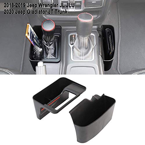 Shifter Storage Box Center Console Storage for 2018-2020 Jeep Wrangler JL JLU & 2020 Gladiator JT, Black,Automatic Transmission Side Organizer Tray Interior Accessories