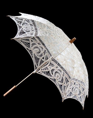 El 1para Vintage batternburg encaje sombrilla 8colores Blanco