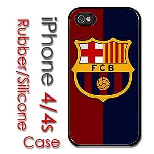 iPhone 4 4S Rubber Silicone Case - Barcelona Soccer Futsal FC Messi Football