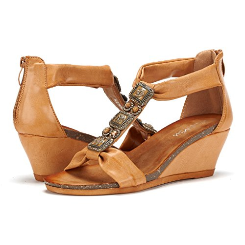10024c1627b80 DREAM PAIRS Mulan Womens Gladiator Adjustable Buckles Straps Low Wedge Back  Zipper Summer Sandals - Buy Online in Oman.