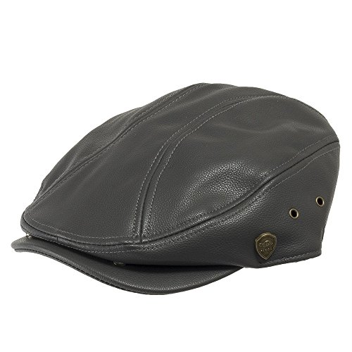 Black Vinyl Newsboy Hat (Classic British IVY Driving Cap Scally Faux Leather newsboy Hat Grey 7 1/2)