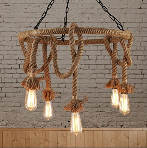 (Vintage Industrial Pendant Ceiling Light Steampunk Retro LOFT Creative Hemp Rope Chandelier 6 Lights Bar Clothing Store Cafe Decoration Lighting )