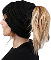 BT-6020a-2-0664 Messy Bun Beanie Tail Bundle - 1 Black, 1 Burgundy (2 Pack)