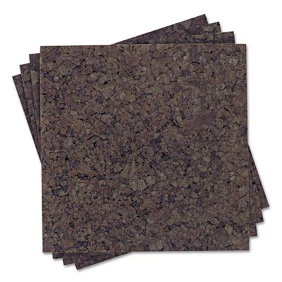 """Quartet Products - Quartet - Cork Panel Bulletin Board, Natural Cork, 12 x 12, 4 Panels/Pack - Sold As 1 Pack - Design your own bulletin board, any size or any shape, or cover a whole wall with dark cork panels. - Natural cork accepts push pins and tacks—and also absorbs room noise. - 1"""" square double-side adhesive tabs provided for application to your desired surface. - Quartet Dark Cork Panels"""