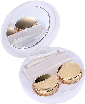 HEALLILY lindo estuche para lentes de contacto con espejo conjunto de kit de cuidado de viaje portátil para lentes de contacto - patrón de pentagrama en relieve (color opcional) - dorado: Amazon.es: