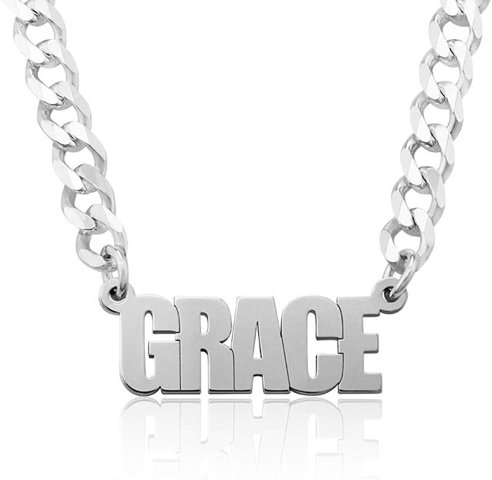 MyNameNecklace Personalized Unisex Thick Gourmette Name Necklace - Custom Jewelry