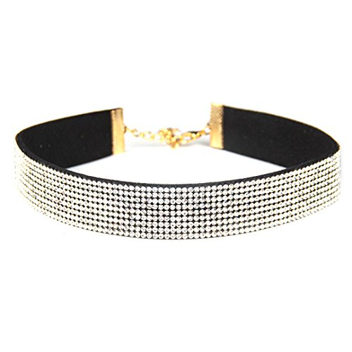Gabrine Womens Girls Collar Choker Short Necklace Velvet Fashion Rhinestone for Wedding Party or Prom(4-Row) by Gabrine (Image #4)
