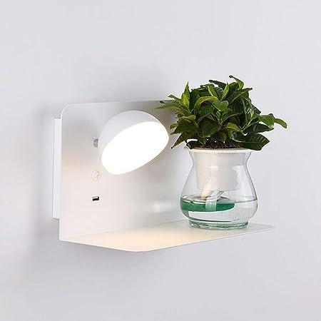 XIUYIYA Aplique De Pared Multifunción LED, Moderno con Lámpara De Pared De Estante Interruptor De Botón Foco Carga USB para La Escalera Pasillo Estudio Sala Estar [Clase De Energía A +++]: Amazon.es: