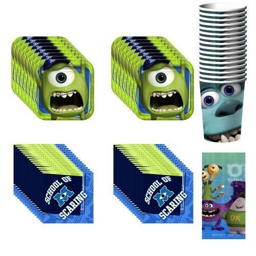 DisneyÆs Monsters University Party Supplies Pack Including Plates, Cups, Napkins and Tablecover - 16 Guests by Hallmark