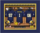 NCAA Locker Room Print Michigan Football Personalized Framed
