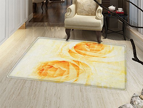 Yellow Carpet Rose - smallbeefly Yellow Bath Mats Carpet Rose Flower in Watercolor Effect Romantic Girly Classic Style Design Print Floor Mat Pattern Yellow and Beige