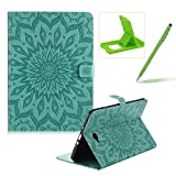 Wallet Case for Samsung Galaxy Tab A 10.1 T580,Flip Pu Leather Case for Samsung Galaxy Tab A 10.1 T580,Herzzer Classic Elegant [Green Mandala Flower Pattern] Stand Function Magnetic Smart Leather Case with Soft Inner for Samsung Galaxy Tab A 10.1 T580 + 1 x Free Green Cellphone Kickstand + 1 x Free Green Stylus Pen