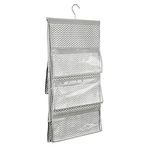 InterDesign 5-Pocket Handbag Organizer - Chevron Hanging Closet Storage System, Taupe/Natural - Supporto Della Borsa Di Visualizzazione