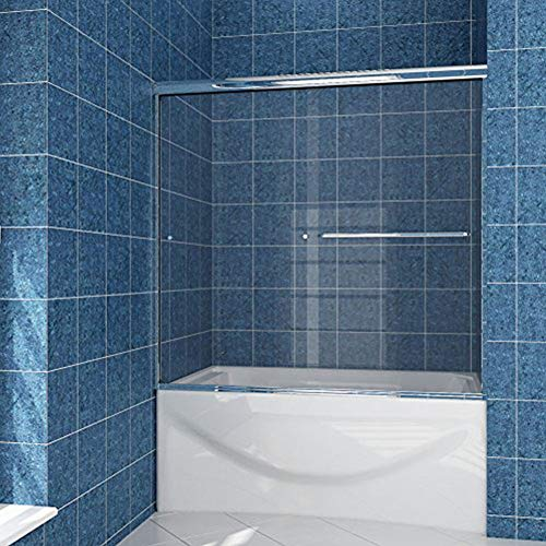 SUNNY SHOWER Model# B020. Frameless Bypass 2 Sliding Bathtub Shower Doors. 56