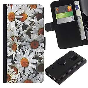 KingStore / Leather Etui en cuir / Samsung Galaxy S5 V SM-G900 / Manzanilla Flores Pétalo campo Naturaleza