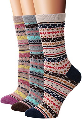 Flora &Fred Womens 3 Pair Pack Vintage Style Aztec Cotton Crew Socks Aztec Shoe 5-9 Crew Thermal Crew Socks