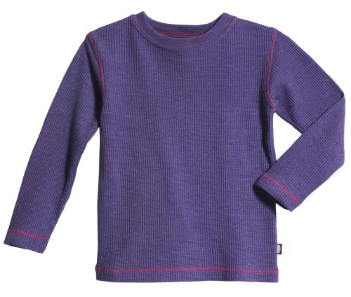 City Threads Little Boy and Girl Solid Thermal Tee T Shirt Shirt, Purple w/ Hot Pink, 6