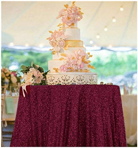 ShinyBeauty Sequin Tablecloth 48 inch Burgundy Dessert Table Tablecloth Burgundy Sequins Table Cloth Burgundy Table Cover Christmas/New Year Table Cloth Burgundy Sparkle Tablecloth M1129]()
