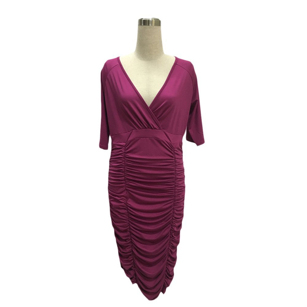10d9092e8a77 O N Womens Plus Size Deep V Neck Wrap Ruched Waisted Bodycon Dress  ONUS-PYNWD002