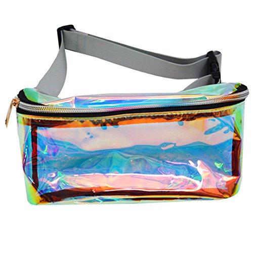 Unisex Transparent Laser Waist Bag Metal Color Waterproof Fa