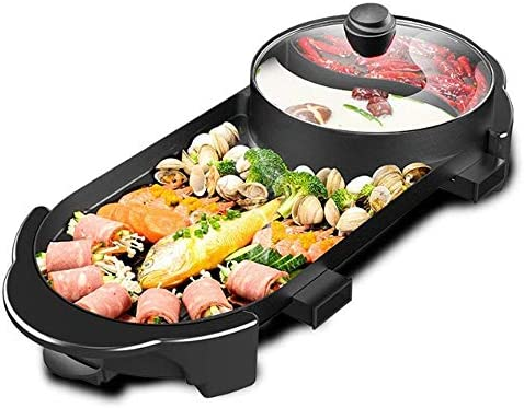 SEAAN Electric Grill Indoor Hot Pot Multifunctional, Indoor Teppanyaki Grill Shabu Shabu Pot with Divider – Separate Dual Temperature Contral, Capacity for 5 People, 110V
