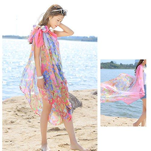 Sarong Extra Spiaggia Stole Pareo Grande fiore Bambine UV e Sciarpe Scialli bagno ragazze Protezione solare Copricostumi Rosa da Donna Wrap Costumi I0w01ap