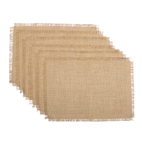 RAJRANG Natural Jute Placemats for Dining Table Mats Set of 6 Pieces  13 x 19 Inches