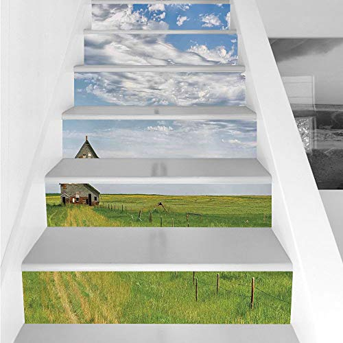 Stair Stickers Wall Stickers,6 PCS Self-adhesive,Rustic Home Decor,Canadian Timber House in Terrain Grassland with Clouds in Air Landscape,Green Blue,Stair Riser Decal for Living Room, Hall, Kids Room ()