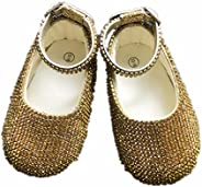 Dollbling Gold Rhinestones Cup Chain Ballerina Christening Sparkle Baby Mary Jane Cirb Shoes