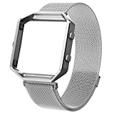 For Fitbit Blaze Band With Metal Frame, Wearlizer Milanese Loop Smart Watch Band Replacement Stainless Steel Bracelet Strap for Fitbit Blaze, Christmas Gift - Silver Large