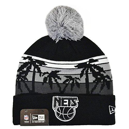 New Acrylic Nets Jersey (New Jersey Nets WINTER TIDE KNIT New Era Cuffed Pom NBA Hat)