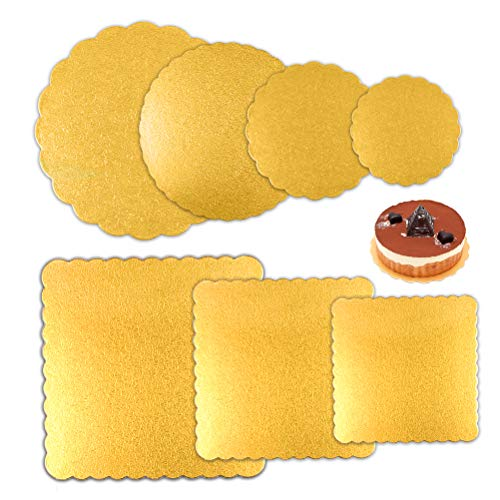 ATPWONZ 7pcs Round and Square Cake Boards 6, 8, 10, 12 Inch Diameter Sheets for Cake Base
