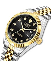 Automatic Mechanical Watches for Men Stainless Steel Waterproof Gold Black Wrist Watch with Date