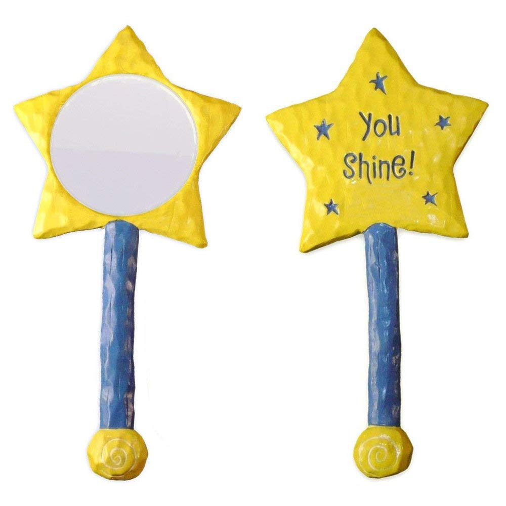 Girls Hand Held Resin Mirror, Hand Mirror Inspirational motivational gift for girl, Compact Mirror, Motivational Quote Mirror Large Yellow Star with InscriptionYou Shine! GANZ 11295
