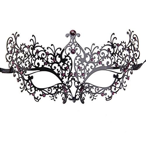 Xvevina Women's Rhinestones Metal Luxury Venetian Laser Cut Masquerade Filigree Mask (Black Metal/Purple -