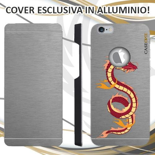 CUSTODIA COVER CASE DRAGONE ASIATICO PER IPHONE 6S ALLUMINIO TRASPARENTE
