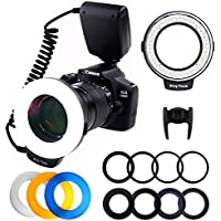 RLOTURE 48 Ring Flash Light with LCD Display Adapter Rings and Flash Diffusers for Canon Nikon and Other DSLR Cameras, Fit 49, 52, 55, 58, 62, 67, 72, 77mm Camera Lense