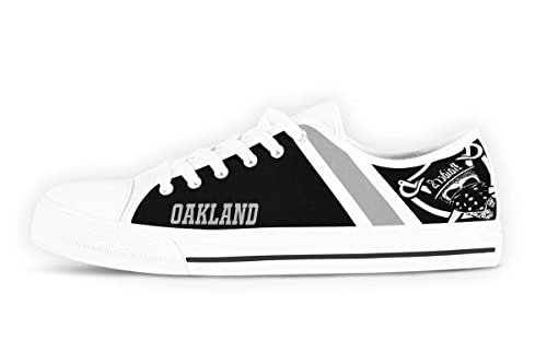 74d1a7843121b Amazon.com | CustomKiks Oakland Raiders Shoes - Low Top Sneakers ...