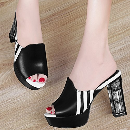 Mode Sortir À Et black Cool Pantoufles Usure Les Dur Sandales Femmes Double GTVERNH Summer Middle Usage Wild FY1X6qwn