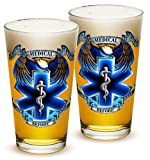 Pint Glasses – EMT Paramedic Gifts for Men or Women – EMT Beer Glassware – Hero's EMS Beer Glasses with Logo - Set of 2 (16 Oz)